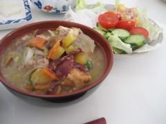 ハーイ!豚肉と野菜サラダの完成でーす