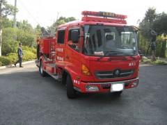 消防車到着しました。